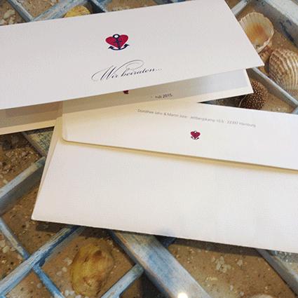 Hochzeitskarte mit Anker und Herz