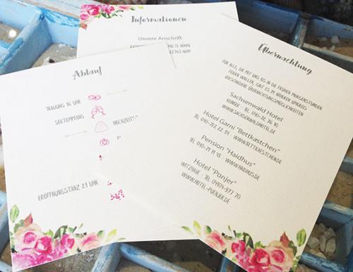 Hochzeitskarten mit Einlegern