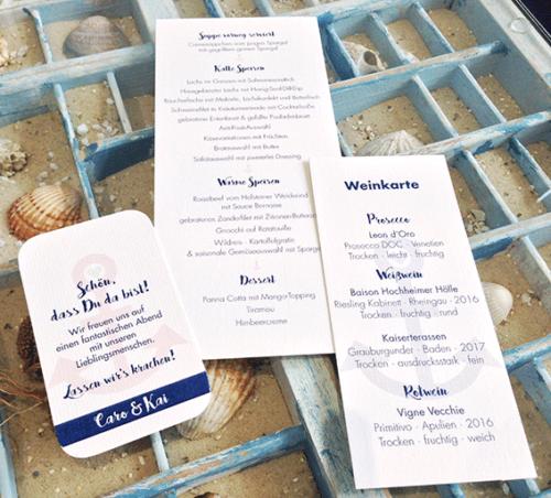 Menü- und Weinkarte, Anhänger für Gastgeschenke