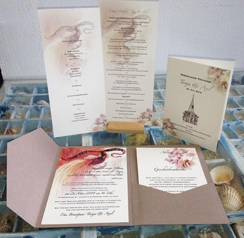 Hochzeitskarte Paradiesvogel