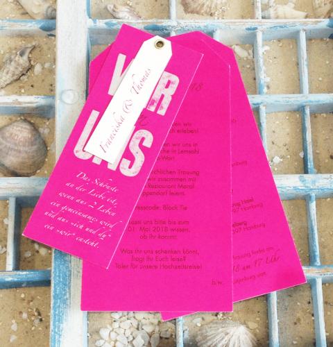 Hochzeitskarte in pink