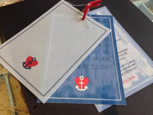 Hochzeitskarte mit Öse und Transparentpapier