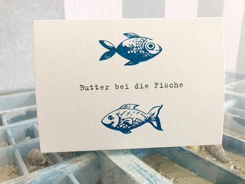 Hochzeitskarte, Butter bei die Fische, Klappkarte, zweifach gefalzt