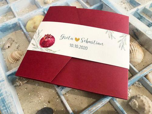 Hochzeitskarte, Pocketfold quadratisch in bordeaux