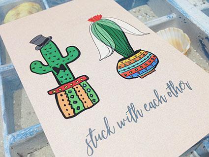 Hochzeitseinladung mit Kaktus